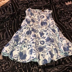 TEA blue cotton print tiered dress/elastic waist